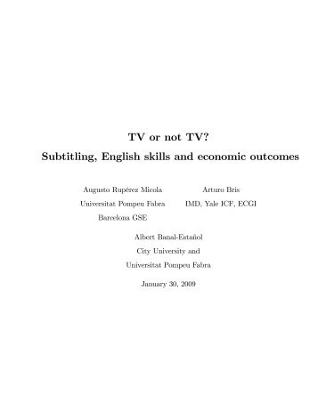 TV or not TV? Subtitling, English skills and economic outcomes