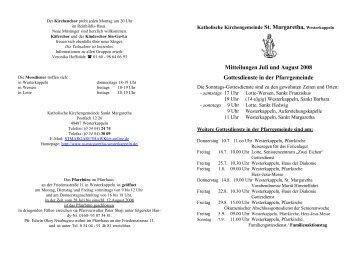 Mitteilungen Juli und August 2008 Gottesdienste in ... - St. Margaretha