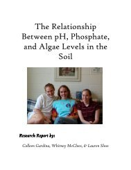 The Relationship Between pH, Phosphate, and Algae Levels in the ...