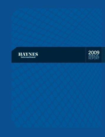 Haynes Annual Report 2009 - Haynes International, Inc.