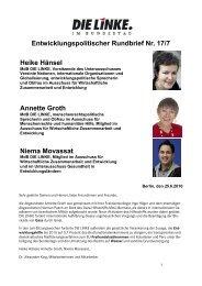Entwicklungspolitischer Rundbrief Nr. 17/7 Heike ... - Annette Groth