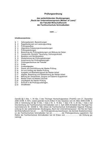 Rahmenprüfungsordnung der FHS - Fachhochschule Schmalkalden