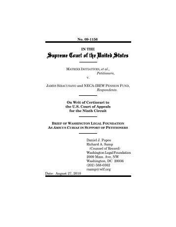 Brief of petitioner for Matrixx Initiatives; Inc.; v. Siracusano; 09 ... - Oyez