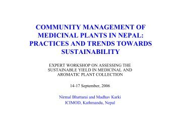 community management of medicinal plants in nepal - FloraWeb