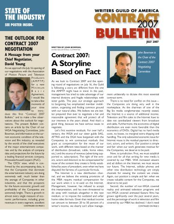 BULLETIN - Writers Guild of America, West
