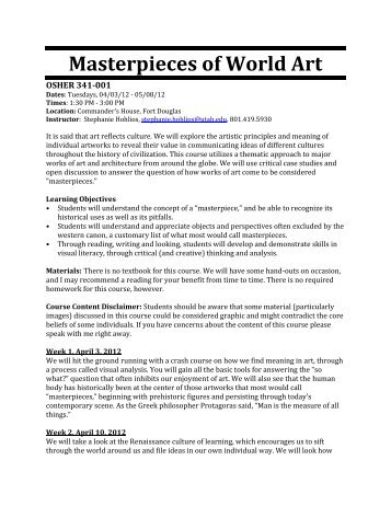 Masterpieces of World Art - Continuing Education at the University of ...