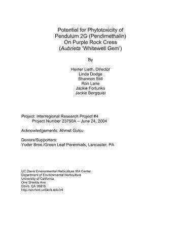 Potential for Phytotoxicity of Pendulum 2G ... - Heiner Lieth