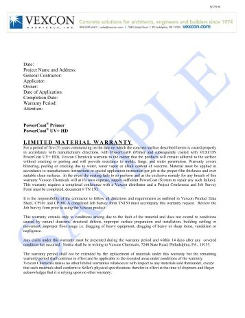 LIMITED MATERIAL WARRANTY - Vexcon Chemicals