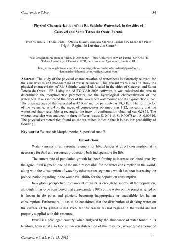 Cultivando o Saber Cascavel, v.5, n.2, p.54-65, 2012 54 ... - Unioeste
