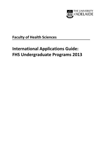 International Applications Guide: FHS Undergraduate Programs 2013