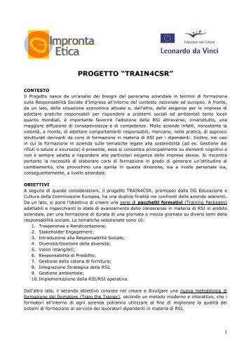 """PROGETTO """"TRAIN4CSR"""" - Impronta Etica"""