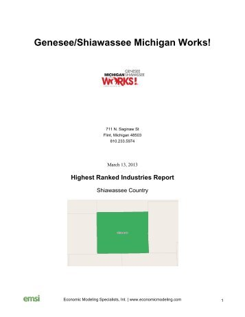 Highest Ranked Industries Report - Genesee/Shiawassee Michigan ...