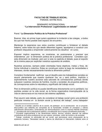 www.ts.ucr.ac.cr 1 FACULTAD DE TRABAJO SOCIAL. PARANÁ ...