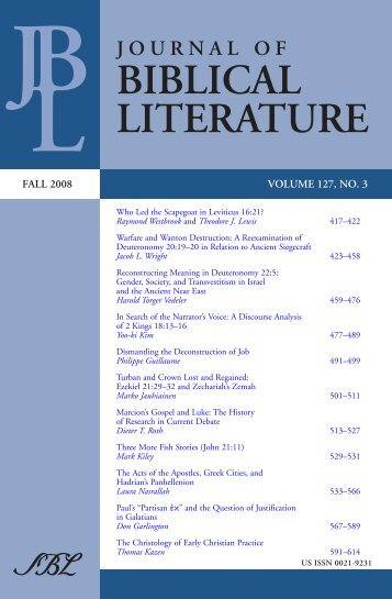 Marcion's Gospel and Luke - Society of Biblical Literature