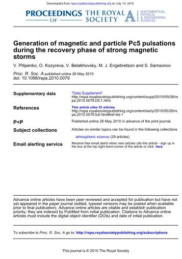 storms during the recovery phase of strong magnetic Generation of ...