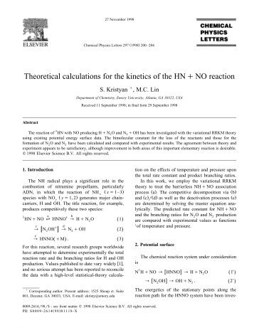 Theoretical calculations for the kinetics of the HNqNO ... - Chemistry