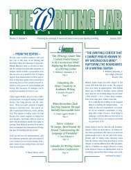 From the editor - The Writing Lab Newsletter