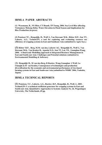 irmla paper abstracts irmla technical reports - SPLU.nl