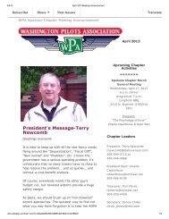 April 2013 Meeting Announcement - Washington Pilots Association
