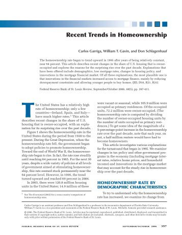 Recent Trends in Homeownership - St. Louis Fed - Federal Reserve ...