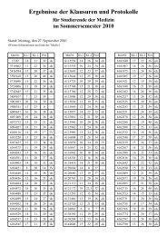 Ergebnisse der Klausuren und Protokolle