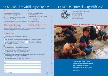 November 2003 - Govinda Entwicklungshilfe e.V.