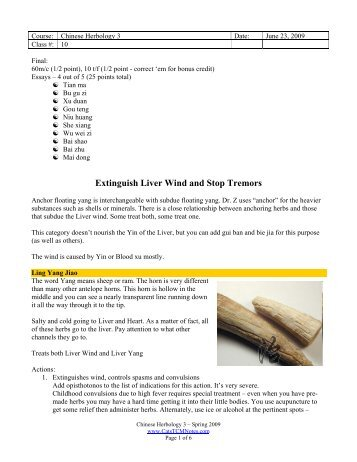 Class 10 - Extinguish Liver Wind and Aromatics ... - CatsTCMNotes