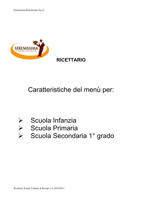 Ricettario - Comune di Rovigo