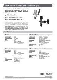 ARD Válvulas de bola - ARP Válvulas de aguja - Baumer