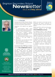 Brighton Secondary School Newsletter May 2013