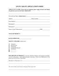 Venture Grant Proposal Form - ANC 5C
