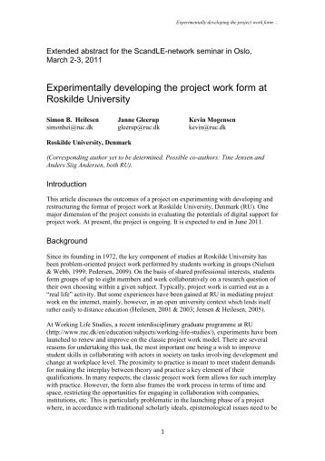 Experimentally developing the project work form at Roskilde University