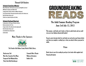 The Adult Summer Reading Program June 3rd-July 13, 2013