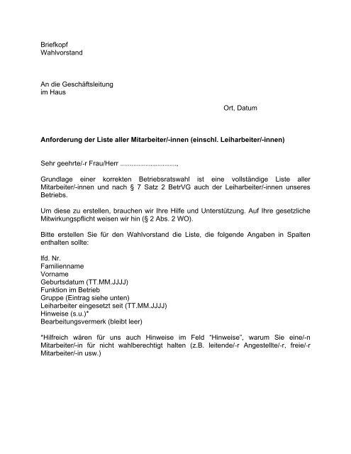 Briefkopf Wahlvorstand An Die Geschäftsleitung Im Betriebsratcom
