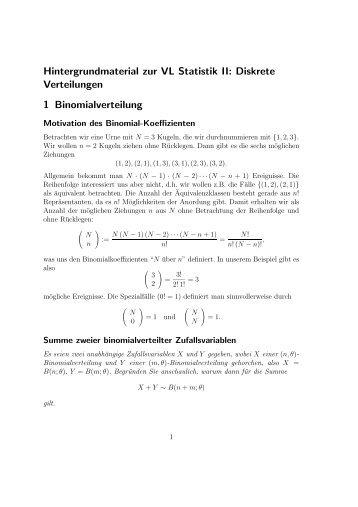 Hintergrundmaterial zur VL Statistik II: Diskrete Verteilungen 1 ...
