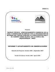 INFORME Y LEVANTAMIENTO DE OBSERVACIONES - Condesan