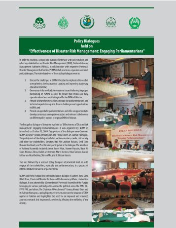 """Policy Dialogues held on """"Effectiveness of Disaster Risk - NDMA"""