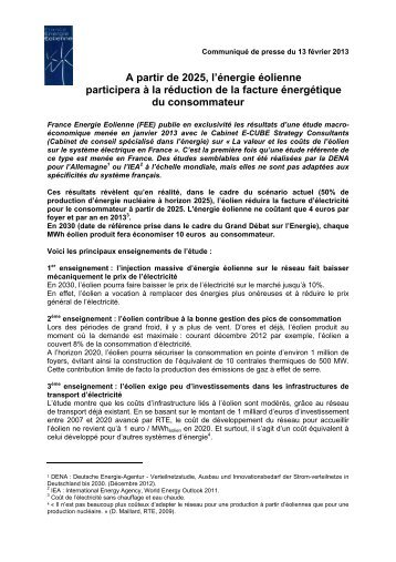 CP FEE Etude cout eolien 2013.pdf - France Energie Eolienne