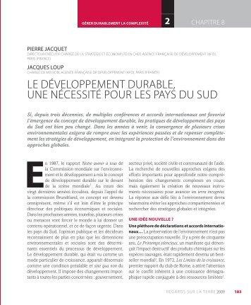 le développement durable, une nécessité pour les ... - Pierre Jacquet