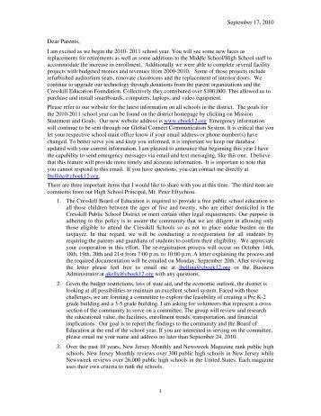 News from the Superintendent's Desk - September 2010 (pdf)