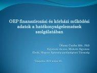 OEP finanszírozási és kórházi működési adatok a