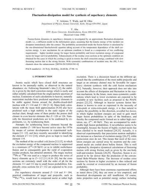Fluctuation-dissipation model for synthesis of superheavy ... - Nrv Jinr