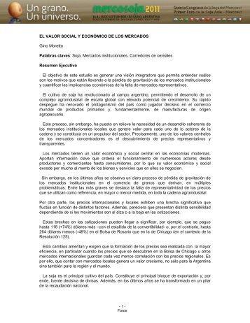 Soja, Mercados institucionales, Corredores de ... - Mercosoja 2011