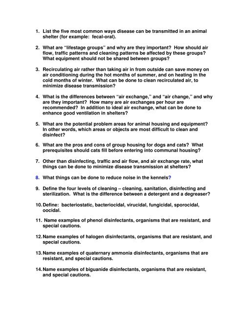 Discussion Questions - Disinfection -  pdf - Wendy Blount, DVM