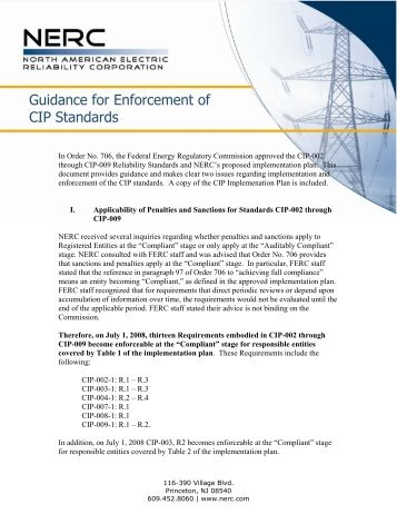 Guidance for Enforcement of CIP Standards - NERC