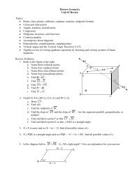 Honors Geometry Unit #2 Review Topics: • Points ... - Nichols School