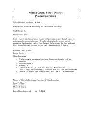 Kindergarten Science Curriculum Planned Instruction, Mifflin County ...