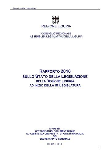 rapporto 2010 sullo stato della legislazione - Parlamenti Regionali