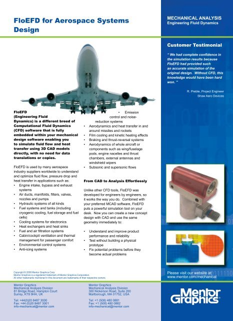 Floefd For Aerospace Systems Design Flowsim Com Au