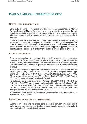 paolo caressa: curriculum vitæ - Caressa.it